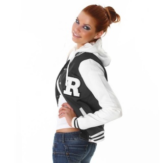 SEXY COLLEGE SWEAT-JACKET EMBROIDERY HOOD DARK GREY/WHITE