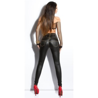 SKINNY HIGH-WAISTED DRAINPIPE PANTS IN WET LOOK LEATHER-LOOK BLACK