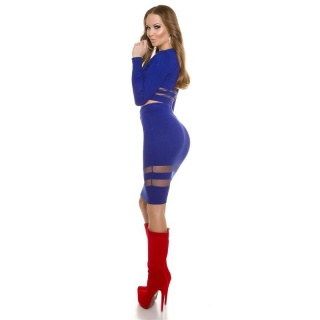 SEXY FINE-KNITTED HIGH WAISTED SKIRT WITH TRANSPARENT STRIPES ROYAL BLUE
