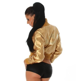 SEXY JACKET IN BLOUSON FORM MADE OF SOFT ARTIFICIAL LEATHER GOLD