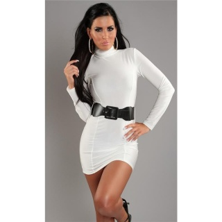 SEXY MINIDRESS WITH BELT WHITE