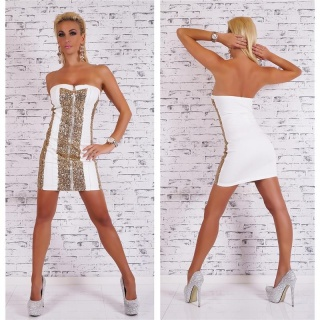 SEXY PARTY BANDEAUKLEID MIT PAILLETTEN LEDER-LOOK WEISS/GOLD