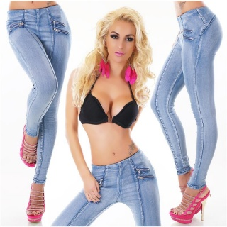 SEXY SKINNY HIGH-WAISTED DRAINPIPE STRETCH JEANS WITH ZIPS BLUE
