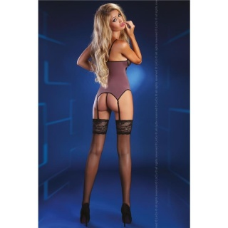 Sexy suspender negligée with lace incl. thong lingerie old-purple