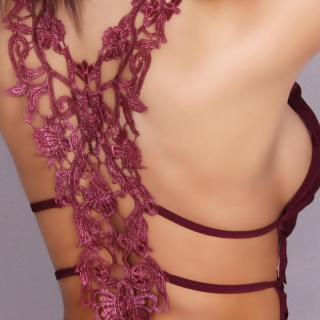 SEXY STRAPPY TOP WITH EMBROIDERY WINE-RED