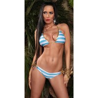 Sexy halterneck bikini beachwear striped pattern...