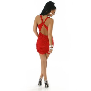 EXCLUSIV GLAMOUR MINIDRESS WITH ELEGANT GATHERS RED