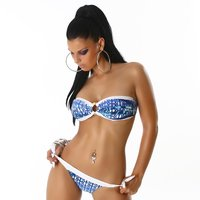 Sexy halterneck bikini beachwear multicolour blue UK 10