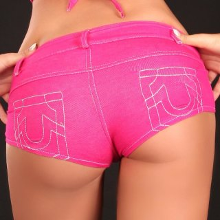 Sexy Hotpants Jeans-Look mit Zipper Gogo Club Pink 36 (M)