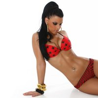 Sexy push-up bikini beachwear red / black UK 12