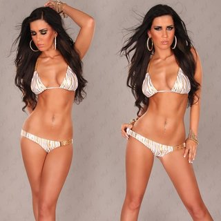 Sexy halterneck bikini beachwear zebra look white/gold UK 12 (L)