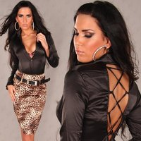 Elegant long-sleeved satin blouse with lacing black UK 10...