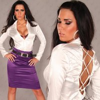 Elegant long-sleeved satin blouse with lacing white UK 10...