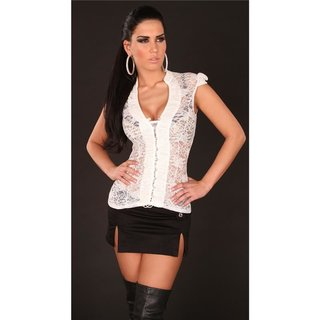 Sexy transparent lace blouse with rhinestones white UK 8 (S)