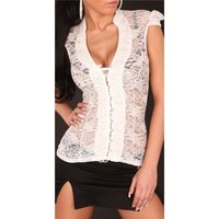 Sexy transparent lace blouse with rhinestones white UK 10...