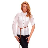 ELEGANT LONG-SLEEVED BLOUSE WITH BELT WHITE UK 10