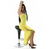 SEXY BANDEAU LATINO DRESS SALSA YELLOW/BLACK