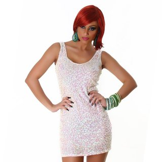 SEXY SEQUINED GLAMOUR MINIDRESS PARTY DRESS PEARL WHITE