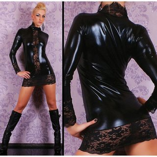 Sexy mini dress with lace wet look gogo clubwear black UK 8/10