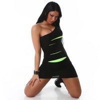 SEXY MINIDRESS WITH RIFTS NEON CLUBBING BLACK/GREEN UK...