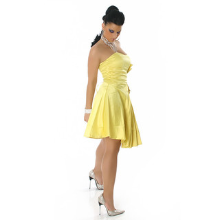 SEXY STRAPLESS SATIN EVENING DRESS YELLOW