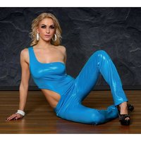 Sexy one-shoulder overall gogo clubwear glitter blue UK...