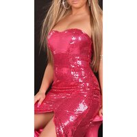 GLAMOUR SEQUINED DRESS BANDEAU EVENING DRESS FUCHSIA UK 10