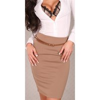 Elegant waist skirt with belt cappuccino UK 10 (M)