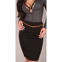 ELEGANT WAIST SKIRT WITH BELT BLACK UK 8 (S)