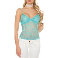 PRECIOUS GLAMOUR LACE TOP TURQUOISE UK 8/10 (S/M)
