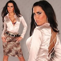 Elegant long-sleeved satin blouse with lacing beige UK 12...