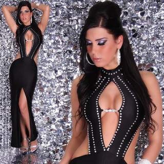 Glamorous diva evening dress with rhinestones black