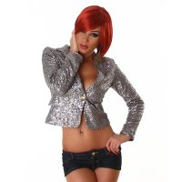 Eleganter Glamour Blazer Jacke mit Pailletten Party...