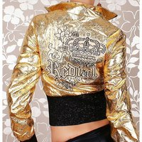 Sexy Redial glamour biker jacket clubbing gold/black UK 8...