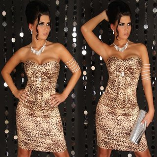 SEXY SATIN BANDEAU DRESS LEOPARD