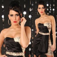 SEXY SATIN BANDEAU DRESS BLACK / LEOPARD