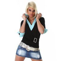 PRECIOUS TWO-IN-ONE SWEATER BLACK/TURQUOISE UK 14