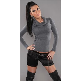 PRECIOUS FINE-KNITTED POLO-NECK SWEATER WITH GLITTER GREY UK 10/12 (M/L)