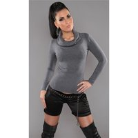 Precious fine-knitted polo-neck sweater with glitter grey...