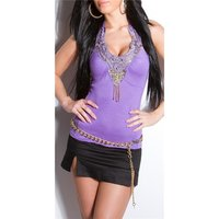 SEXY HALTERNECK TOP WITH EMBROIDERY SEQUINS PEARLS PURPLE
