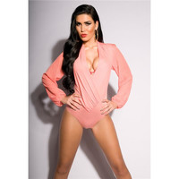 Feminine long-sleeved body with chiffon transparent coral