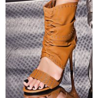 SEXY HIGH HEELS ANKLE BOOTS SHOES WITH METAL BEADS CAMEL...