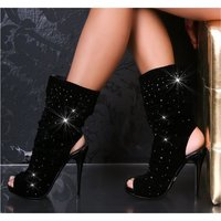SEXY HIGH HEELS ANKLE BOOTS SHOES BLACK UK 6