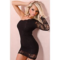 SEXY ONE-SHOULDER EVENING DRESS MADE OF LACE BLACK UK...