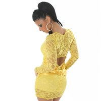 ELEGANT EVENING DRESS MADE OF LACE YELLOW UK 10