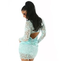 ELEGANT LACE EVENING DRESS MINT UK 14