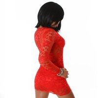 SEXY LONG-SLEEVED LACE MINIDRESS DRESS RED UK 8/10 (S/M)