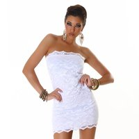 Elegant bandeau mini dress made of lace white UK 8/10 (S/M)