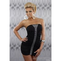 SEXY BANDEAU MINIDRESS WITH SMALL RHINESTONES BLACK UK 10...