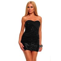 SEXY GLAMOUR BANDEAU MINIDRESS PARTY DRESS WITH SEQUINS...